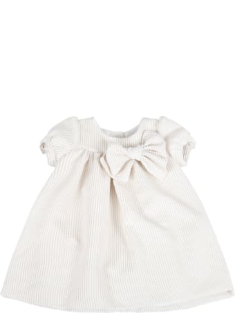 Little Bear Beige Dress For Babygirl With Bow