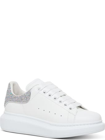 Alexander McQueen Leather Leather Sneakers With Glittery Heel Tab