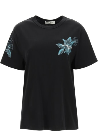 Givenchy Flower T-shirt With Logo