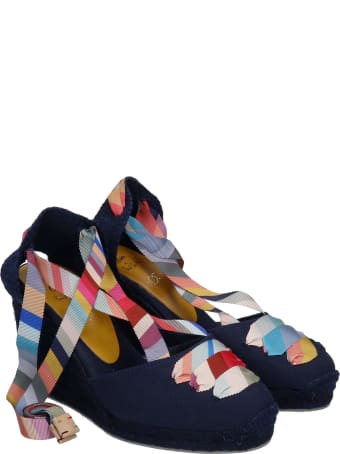Castañer by Paul Smith Coralia C Ps  Wedges In Blue Canvas