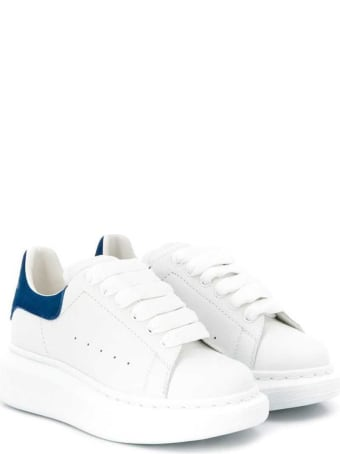 Alexander McQueen White Leather Oversize Sneakers With Blue Heel Tab