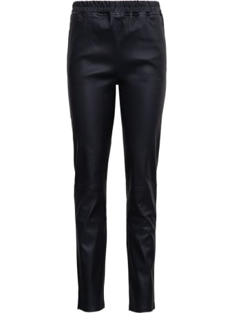 ARMA Black Leather Pants With Drawstring