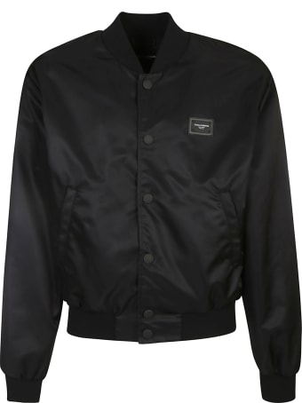 Dolce & Gabbana Logo Patched Ribbed Bomber