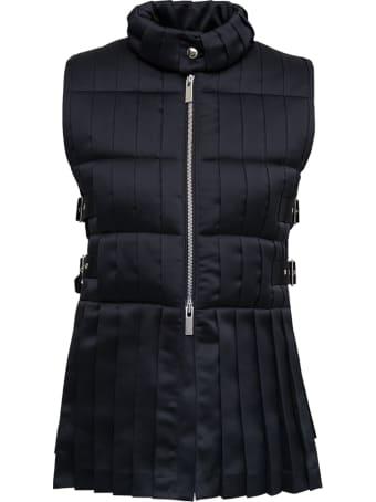 Noir Kei Ninomiya Pleated Black Nylon Vest With Buckles