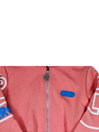 GCDS Cotton Sweatshirt With Zip And Hood With Logo Lettering On The Sleeves