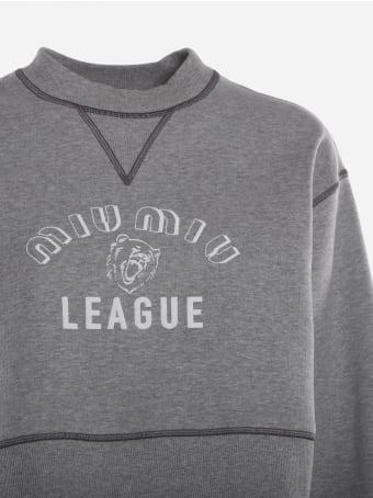Miu Miu Cropped Cotton Sweatshirt With Rubber-effect Logo Print