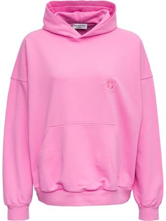 Balenciaga Pink Jersey Hoodie With Logo