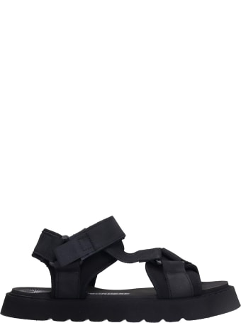 Bruno Bordese Surf Sandal Flats In Black Synthetic Fibers