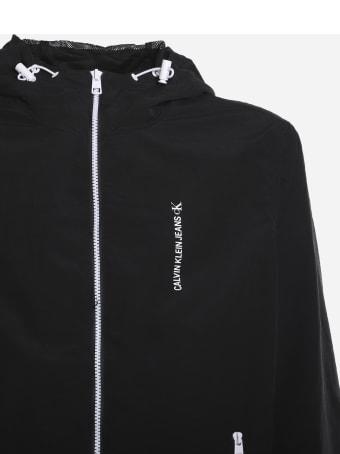 Calvin Klein Jeans Nylon Jacket With Maxi Rear Logo Print