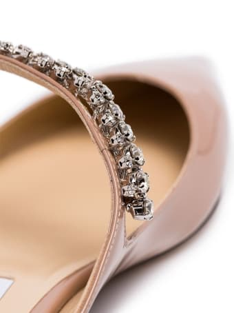 Jimmy Choo Bing Flat Leather Mules With Crystal Insert
