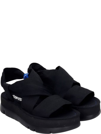 Camper Oruga Up Flats In Black Synthetic Fibers