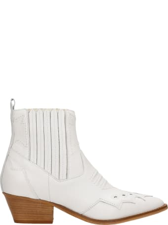 Julie Dee Texan Ankle Boots In White Leather