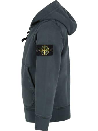 Stone Island Junior Green Sweatshirt For Boy With Iconic Compass