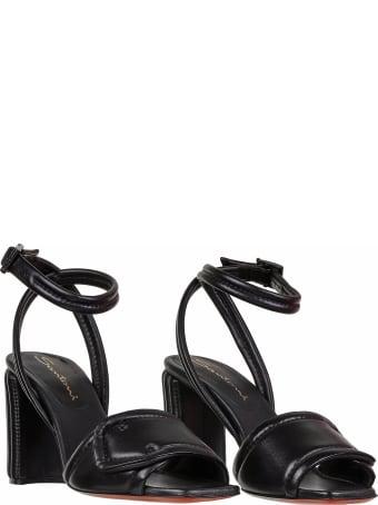 Santoni Sandals In Black Leather