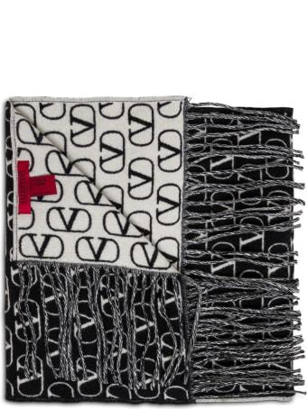 Valentino Garavani Bicolor Wool Scarf With Logo Print