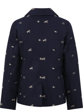 Gucci Blue Jacket For Boy With Double Gg