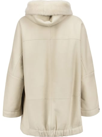 Brunello Cucinelli Shearling Outerwear With Hood And Shiny Trim