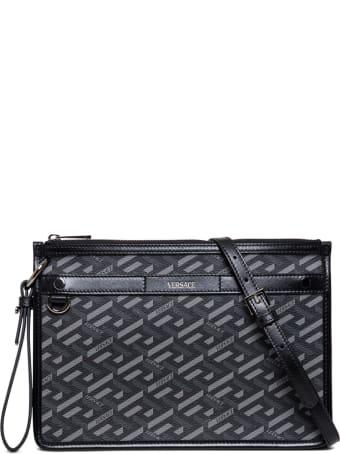 Versace La Greca Signature Handbag In Coated Canvas