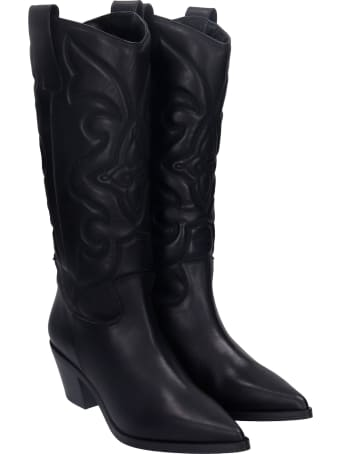 Alchimia Texan Boots In Black Leather