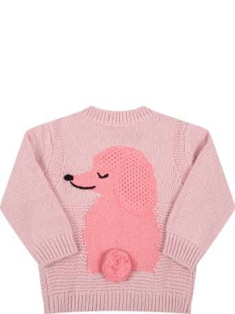 Stella McCartney Kids Pink Sweater For Baby Girl With Pink Dog