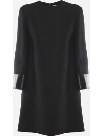 Valentino Virgin Wool Dress With Leather Inserts
