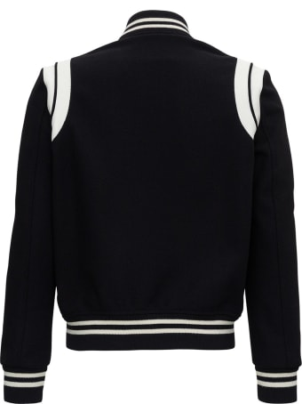 Saint Laurent Teddy Wool Jacket With Leather Profiles