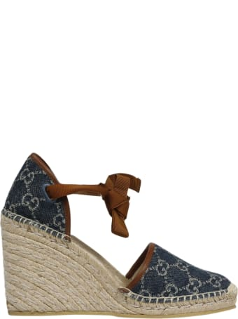 Gucci Gg Denim Wedge Espadrilles