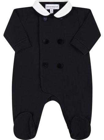 Armani Collezioni Blue Babygrow For Baby Boy