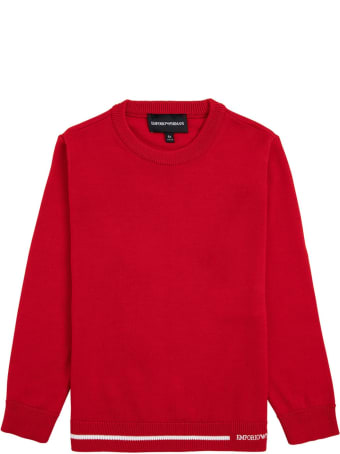 Emporio Armani Red Sweater In Wool Blend