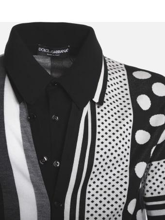 Dolce & Gabbana Silk Blend Polo Shirt With Jacquard Prints