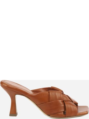 Aldo Castagna Flora Sandals In Leather With Woven Pattern