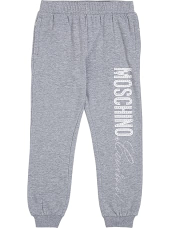 Moschino Grey Cotton Joggers With Logo Print