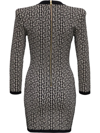 Balmain Monogram Jacquard Wool And Viscose Dress