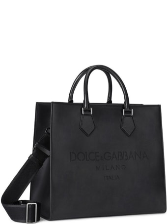 Dolce & Gabbana Palermo Handbag In Black Leather With Logo