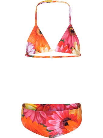 Dolce & Gabbana Multicolor Bikini For Girl With Logo