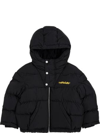 Off-White Black Nylon Down Jacket With Logo Print