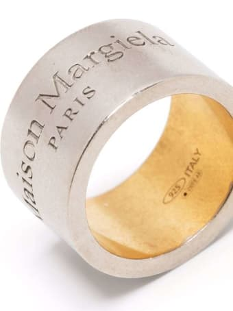 Maison Margiela Silver Brass Logo-engraved Ring