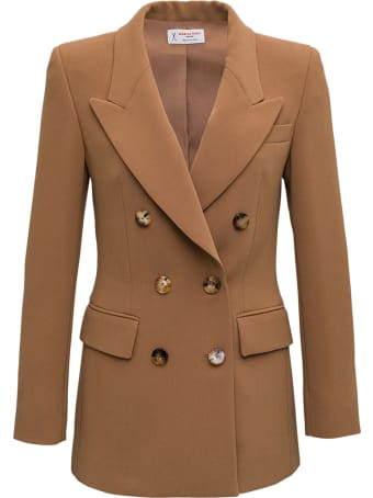 Alberto Biani Double-brasted Jacket In Camel Cady