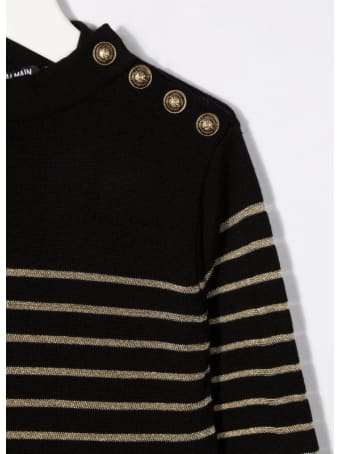Balmain Kids Dress In Black Knit With Golden Stripes And Embossed Buttons