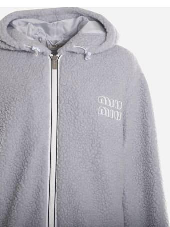 Miu Miu Fleece Sweatshirt With Contrasting Logo
