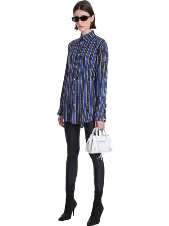 Balenciaga Shirt In Blue Viscose