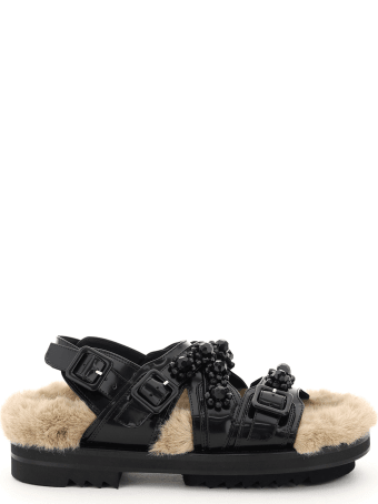Simone Rocha Embellished Sandals With Faux Fur