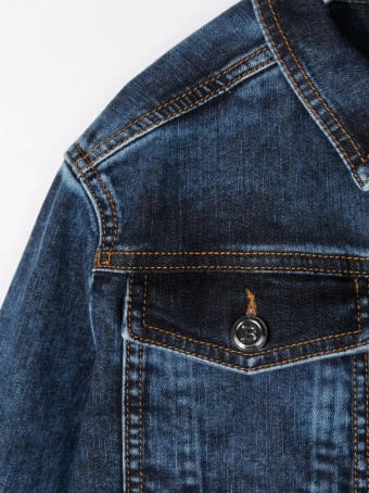 Balmain Kids Dark Blue Denim Jacket With Embossed Logo