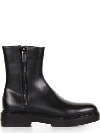 Santoni Leather Ankle Boots With Zip