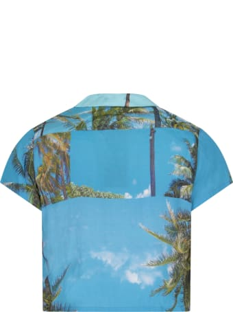 Natasha Zinko Light Blue Shirt For Kids With Colorful Prints