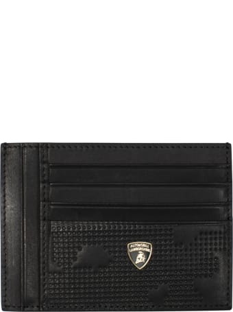Automobili Lamborghini Card Holder In All-over Camouflage Textured Leather