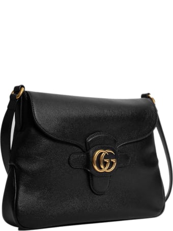Gucci Black Leather Messenger Bag