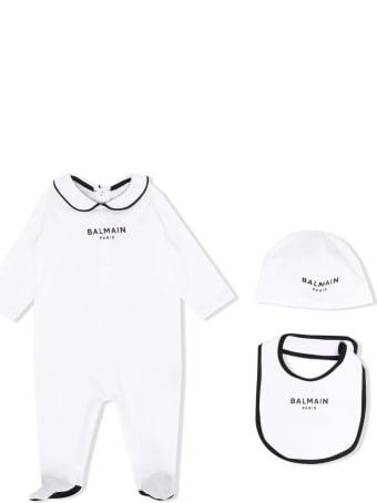 Balmain White Cotton Babygrow Set