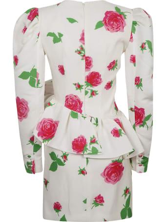 Alessandra Rich Rose Print Faille Mini Dress
