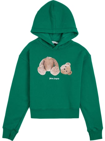 Palm Angels Green Cotton Hoodie With Teddy Bear Print